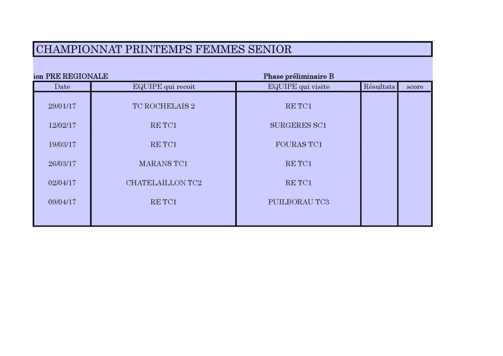 CHAMPIONNAT PRINTEMPS DAMES Feuil1